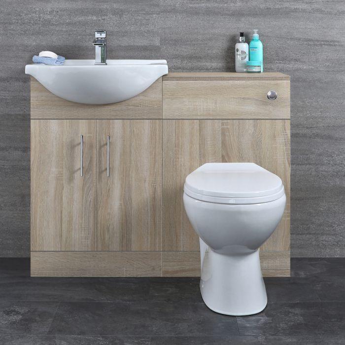 Mueble de Lavabo Efecto Roble con 2 Puertas e Inodoro Integrado 1032x835x820mm