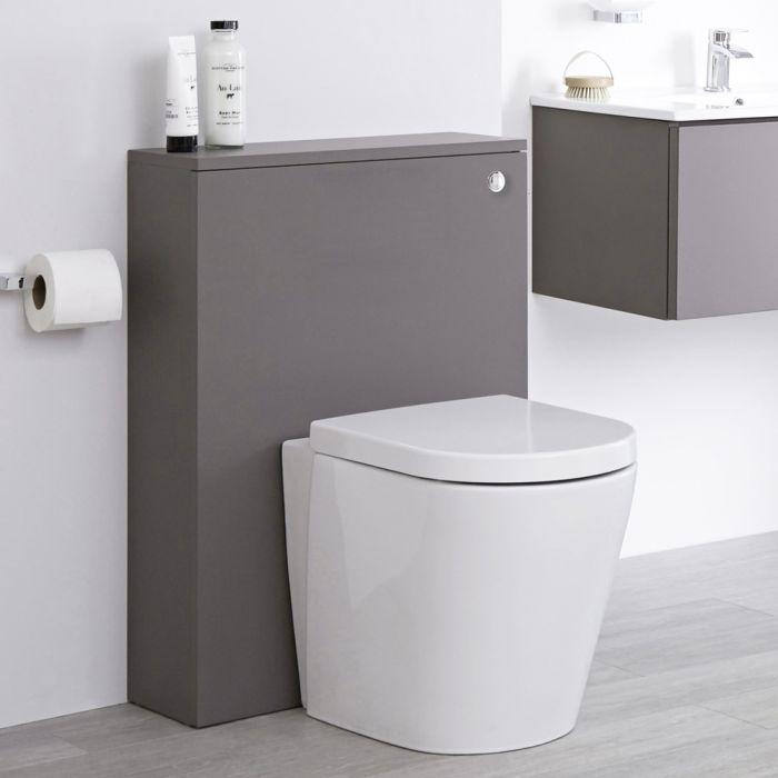 Mueble de Baño de 600mm Color Gris Opaco con Inodoro y Placa de Accionamiento - Newington
