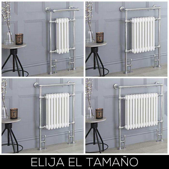 Radiador Toallero Tradicional - Blanco y Cromado - Disponible en Distintas Medidas - Elizabeth