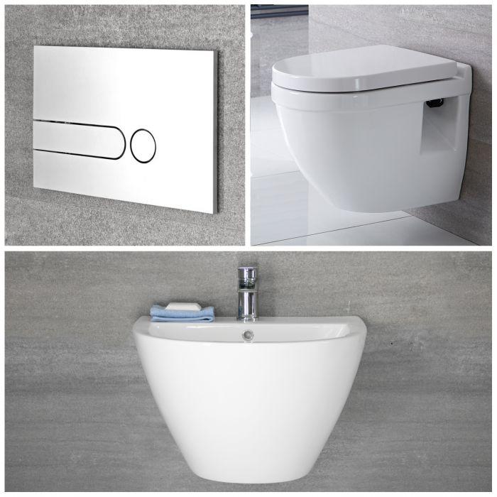 Conjunto para Cuarto de Baño Completo con Lavabo Suspendido e Inodoro Suspendido sin Brida con Cisterna y Tapa – Ashbury