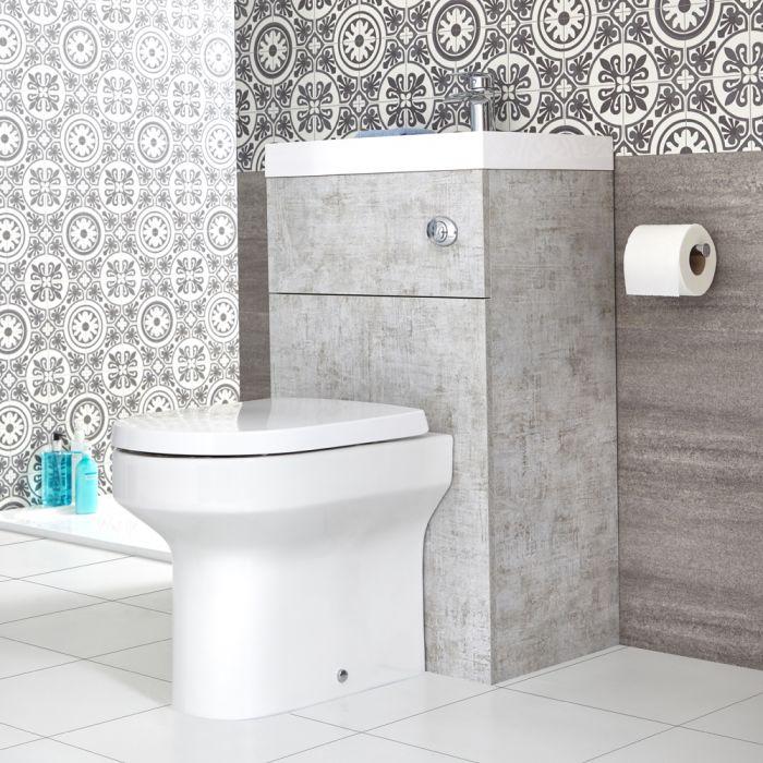 Conjunto de Baño Moderno de 500x890mm Color Gris Hormigón Completo con Mueble de Lavabo e Inodoro Integrado  - Cluo