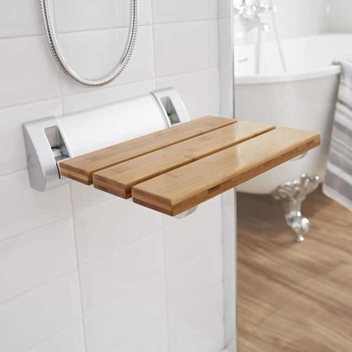 Asiento de Ducha Plegable Moderno con Madera de Bambú con Soporte Ancho - Select