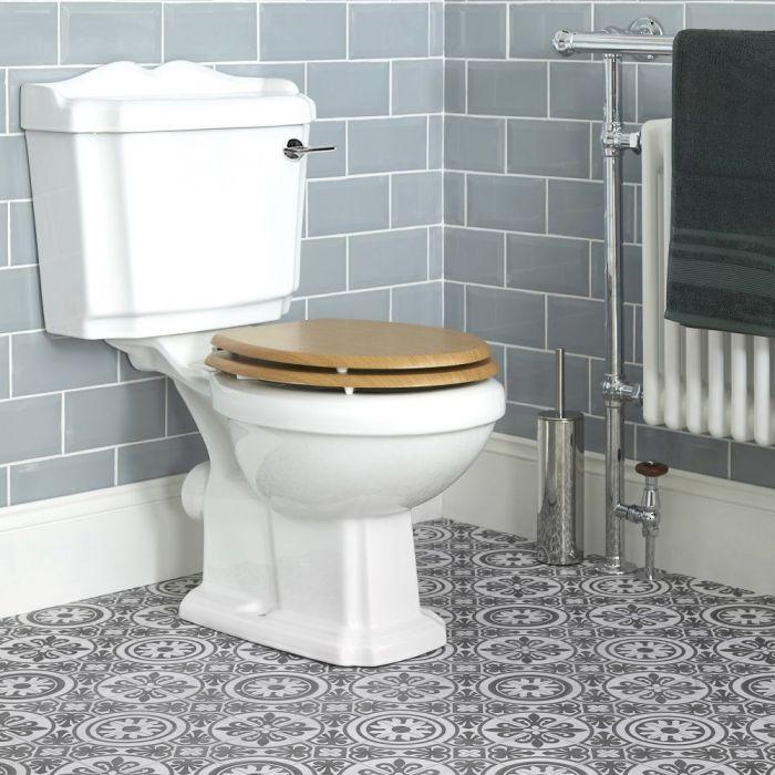 Inodoro WC Tradicional con Cisterna y Tapa de Madera Estilo Retro con Salida Horizontal - Legend