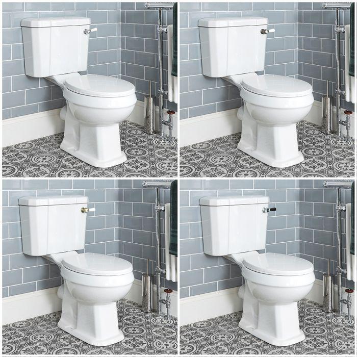 Conjunto WC Richmond Completo con Inodoro Monobloque Tradicional con Salida Horizontal Cisterna Tapa - Variedad de Palancas de Descarga