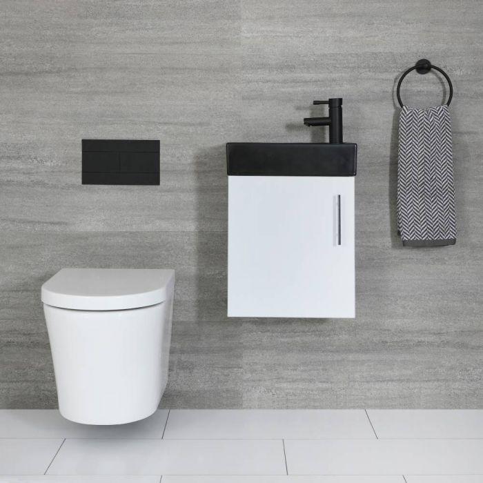 Mueble de Lavabo Suspendido Compacto de Color Blanco de 400mm con Lavabo Negro - Cluo