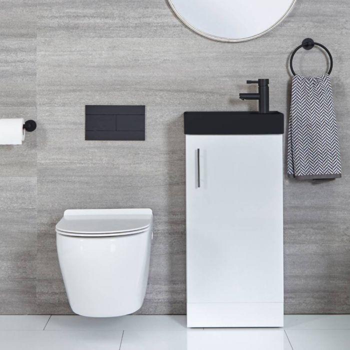 Mueble de Lavabo Blanco Compacto de 400mm para Montaje a Suelo con Lavabo Negro - Cluo