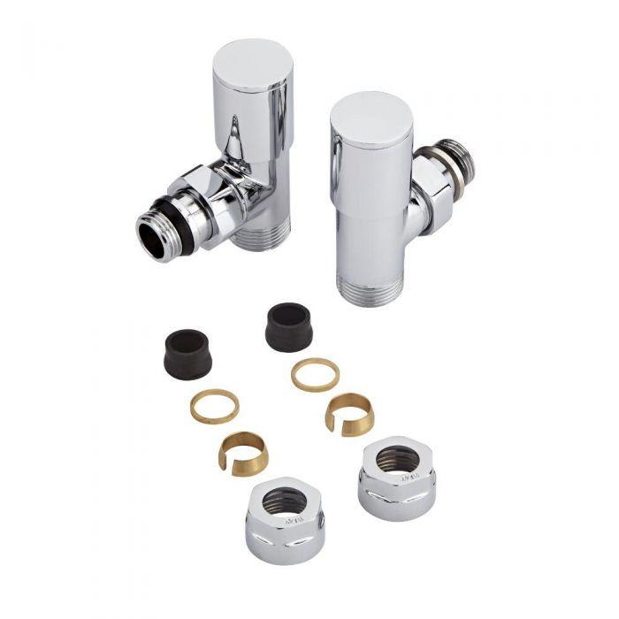 Par de Llaves Termostáticas para Radiador y Radiador Toallero Completas con Adaptadores para Tubos de Cobre de 16mm