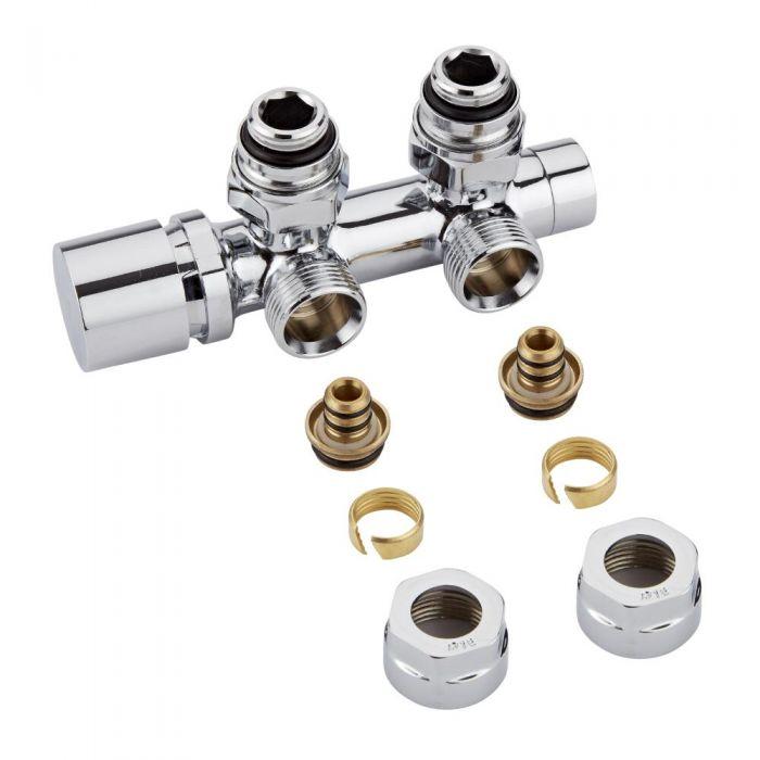 Llaves Angulares Cromadas para Radiador o Toallero con Conexión Central con Adaptadores para Tubos Pex o Multicapa de 16mm - Multiblock H