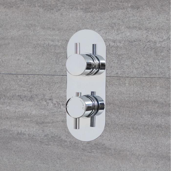 Mezclador de Ducha Termostático Redondo Moderno de 1 Salida - Cromado - Como