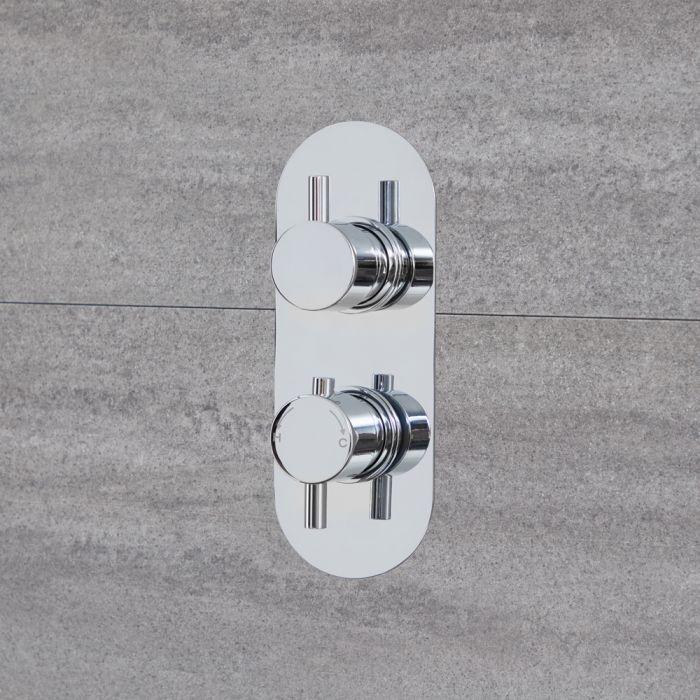 Mezclador de Ducha Termostático Doble de 2 Salidas con Desviador Integrado Cromado - Quest