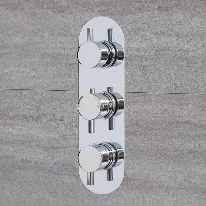 Mezclador de Ducha Termostático Moderno Triple Redondo de 2 Salidas Cromado  - Quest