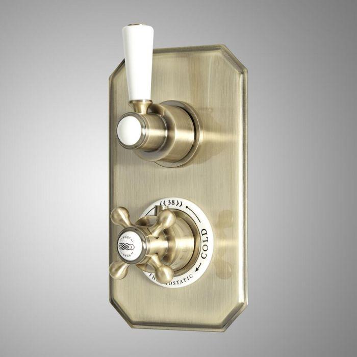 Mezclador de Ducha Empotrable Tradicional de 2 Funciones de Diseño Doble con Desviador y Acabado Efecto Oro Cepillado - Elizabeth