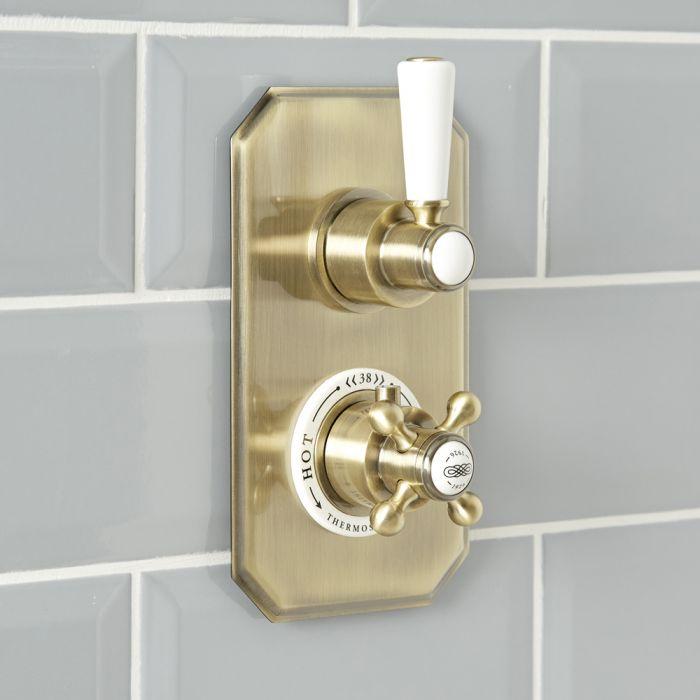 Mezclador de Ducha Empotrable Tradicional de 1 Función con Diseño Doble Acabado Efecto Oro Cepillado - Elizabeth