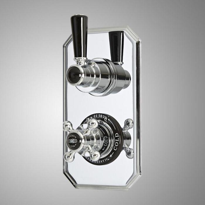 Mezclador de Ducha Empotrable Tradicional de 2 Funciones con Desviador de Diseño Doble con Acabado Cromado y Negro - Elizabeth