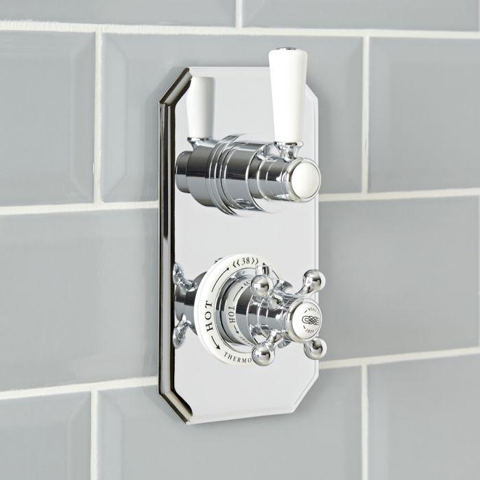Mezclador de Ducha Termostático Empotrable Tradicional de 1 Función de Diseño Doble con Acabado Cromado y Blanco - Elizabeth
