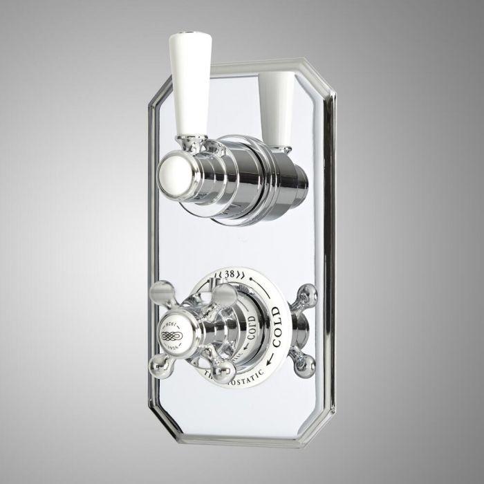 Mezclador de Ducha Empotrable Tradicional Termostático de 2 Funciones con Desviador de Diseño Doble con Acabado de Color Cromado y Blanco - Elizabeth