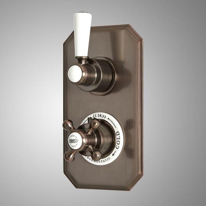 Mezclador de Ducha Empotrable Tradicional de 2 Funciones con Desviador con Diseño Doble y Acabado Efecto Bronce Bruñido - Elizabeth