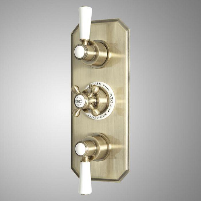 Mezclador de Ducha Termostático Empotrable Tradicional de 3 Salidas con Diseño Triple y Acabado Efecto Oro Cepillado - Elizabeth