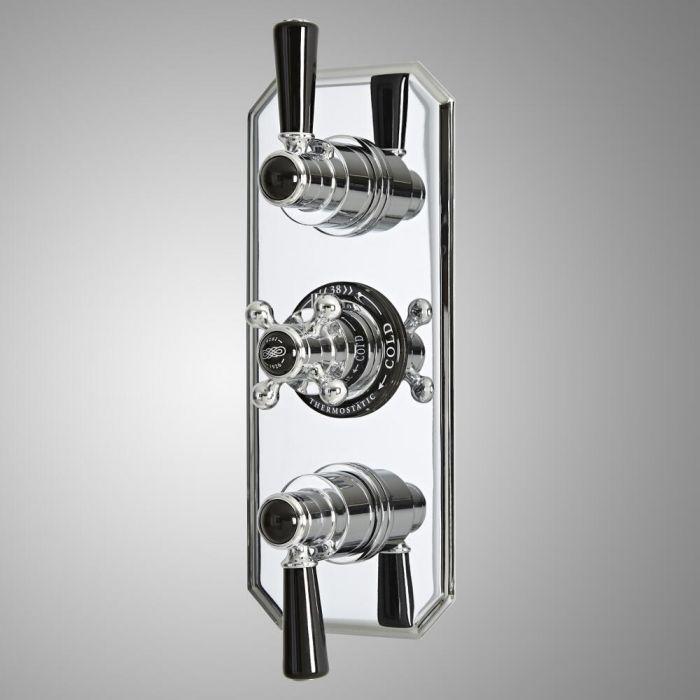 Mezclador de Ducha Termostático Empotrable Tradicional de 3 Salidas con Desviador de Diseño Triple con Acabado Cromado y Negro - Elizabeth