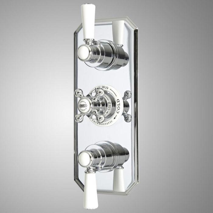 Mezclador de Ducha Termostático Empotrable Tradicional de 3 Salidas con Diseño Triple con Desviador Cromado y Blanco - Elizabeth