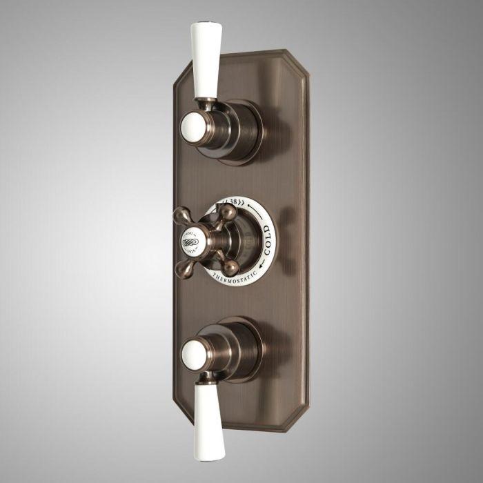 Mezclador de Ducha Termostático Empotrable Tradicional de 3 Salidas con Desviador con Diseño Triple Acabado Efecto Bronce Bruñido - Elizabeth