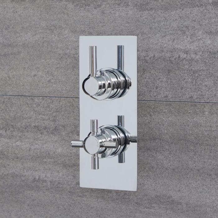 Mezclador de Ducha Termostático Moderno Doble Redondo de 2 Salidas Cromado con Desviador Integrado - Tec