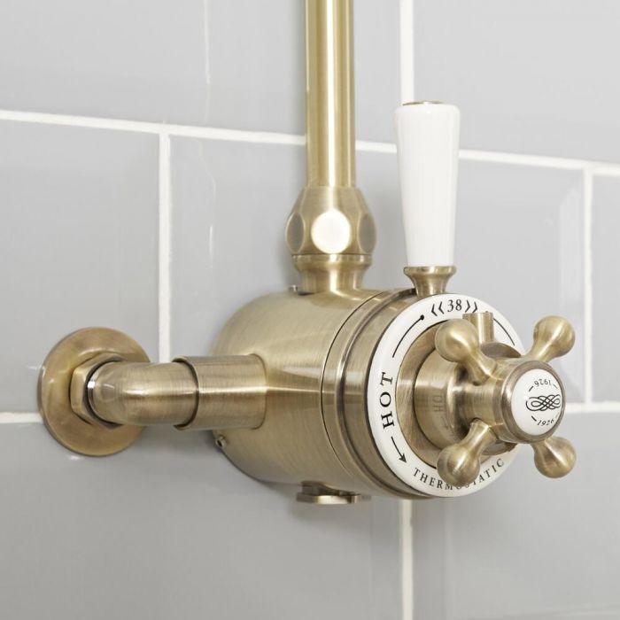 Mezclador de Ducha Termostático Tradicional Expuesto de 1 Salida con Diseño Doble y Acabado Efecto Oro Cepillado - Elizabeth