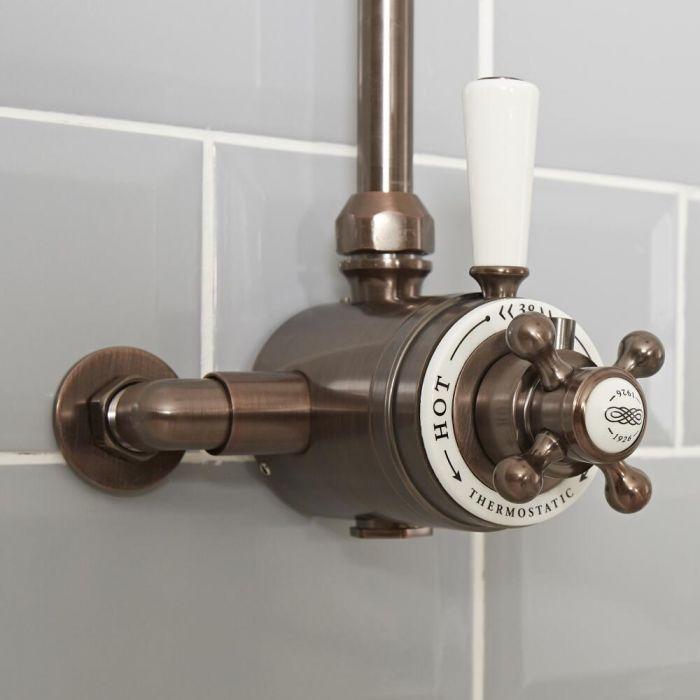 Mezclador de Ducha Termostático Tradicional Expuesto de 1 Salida con Diseño Doble y Acabado Efecto Bronce Bruñido - Elizabeth