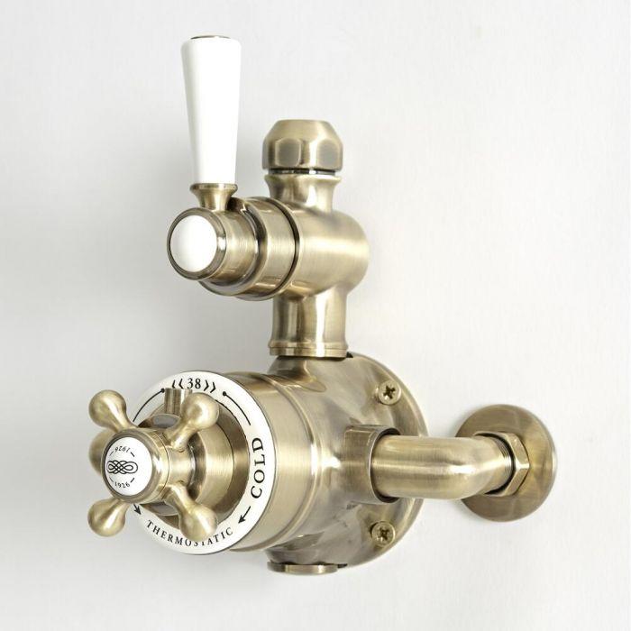 Mezclador de Ducha Tradicional Expuesto Termostático de 1 Salida con Diseño Doble y Acabado Efecto Oro Cepillado - Elizabeth