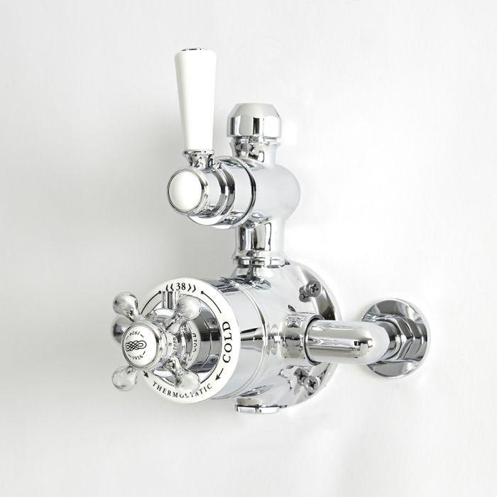 Mezclador de Ducha Tradicional Expuesto Termostático de 1 Salida con Diseño Doble y Acabado Cromado y Blanco - Elizabeth