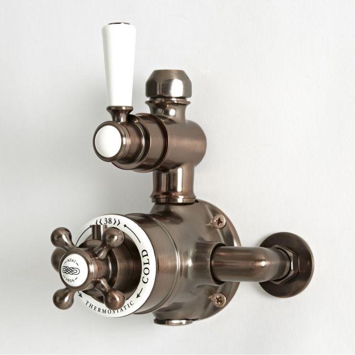 Mezclador de Ducha Termostático Tradicional Expuesto de 1 Salida con Diseño Doble con  Acabado Efecto Bronce Bruñido - Elizabeth