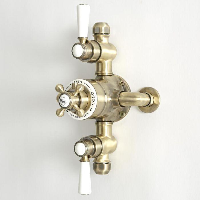 Mezclador de Ducha Tradicional Termostático Expuesto de 2 Salidas con Acabado Efecto Oro Cepillado - Elizabeth