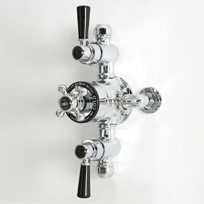 Mezclador de Ducha Tradicional Termostático Expuesto de 2 Salidas de Diseño Triple con Acabado Cromado y Negro - Elizabeth