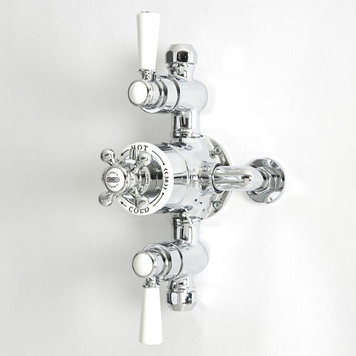 Mezclador de Ducha Tradicional Termostático Expuesto de 2 Salidas con Diseño Triple y Acabado de Color Cromado y Blanco - Elizabeth