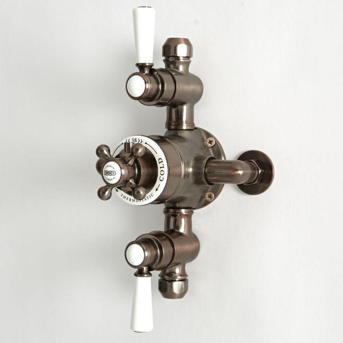 Mezclador de Ducha Tradicional Termostático Expuesto de 2 Salidas con Diseño Triple y con Acabado Efecto Bronce Bruñido - Elizabeth