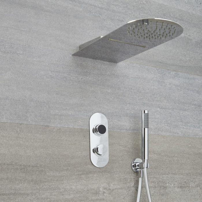 Ducha Digital con Sistema de Control de 3 Salidas con Alcachofa Efecto Lluvia y Cascada con  Telefonillo - Narus