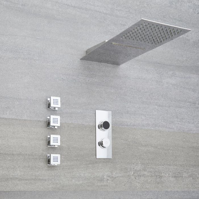 Ducha Digital con Sistema de Control de 3 Salidas con Alcachofa de Ducha Efecto Lluvia y Cascada  y Jets  de Ducha - Narus