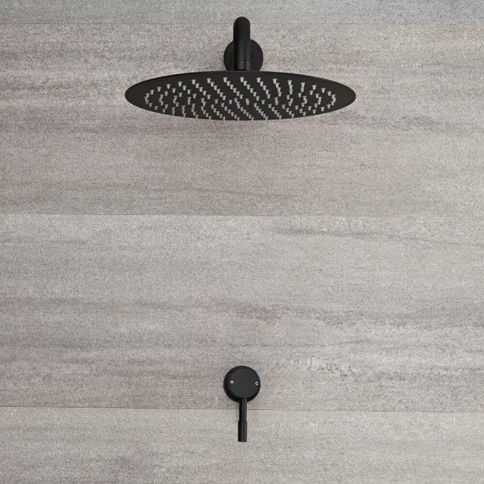 Llave de Ducha Manual Empotrable de 1 Función Negra con Alcachofa de Ducha Redonda de 300mm  - Nox