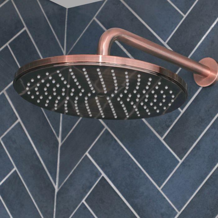 Alcachofa de Ducha Redonda Moderna de 300mm de Acero Inoxidable - Color Cobre Cepillado - Amara