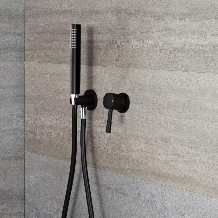 Llave de Ducha Manual Empotrable de 1 Función Negra con Telefonillo - Nox