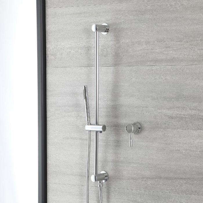 Conjunto de Ducha Cromado Moderno con Mezclador de Ducha Manual con Barra de Ducha Deslizante - Como