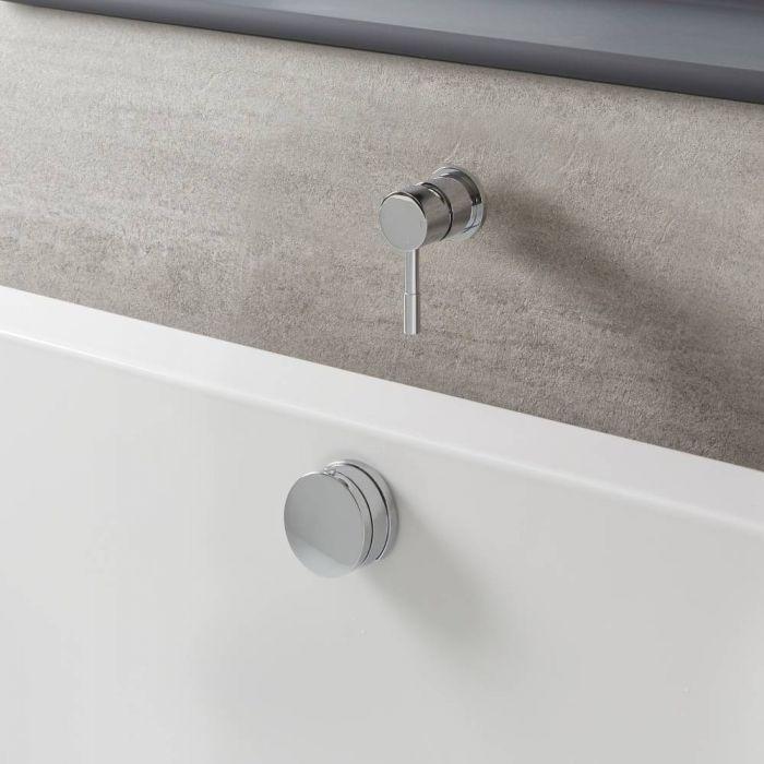 Mezclador de Ducha Manual de 1 Salida Moderno Completo con Llenador de Bañera para Rebosadero con Válvula de Desagüe - Cromado - Como