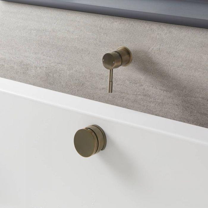 Mezclador de Ducha Manual de 1 Salida Completa con Llenador de Bañera para Rebosadero con Válvula de Desagüe - Oro Cepillado - Clarus