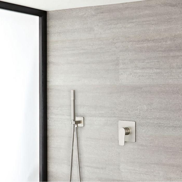 Mezclador de Ducha Manual con Telefonillo Redondo de Color Níquel Cepillado - Aldwick