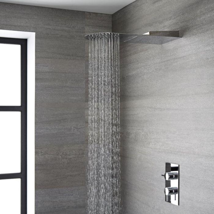 Alcachofa de Ducha Ultraplana de 2 Funciones Efecto Lluvia y Cascada de Acero Inoxidable - Trenton