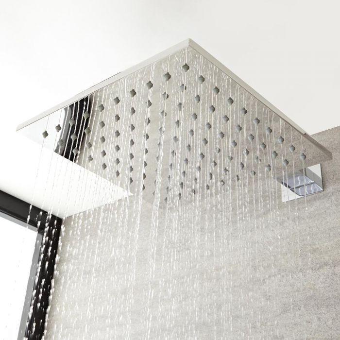 Alcachofa de Ducha Cuadrada de 200mm Mural o de Techo Fija Realizada de Acero con Acabado Cromado - Kubix