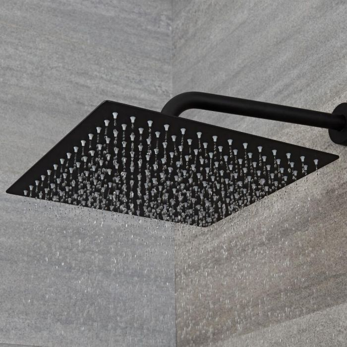 Alcachofa de Ducha Cuadrada Negra de 300x300mm Acero Inoxidable - Nox