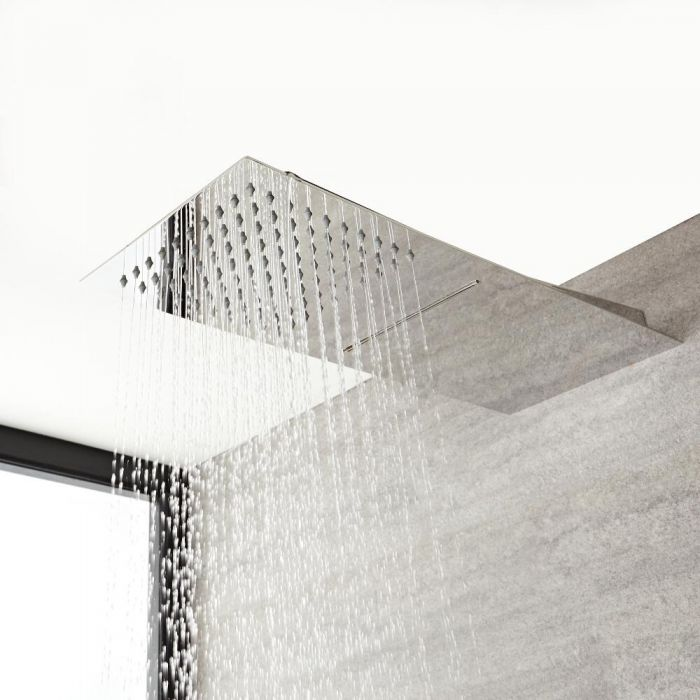 Alcachofa de Ducha Rectangular Extraplana de Doble Función 500mm x 200mm Efecto Lluvia y Cascada - Kubix