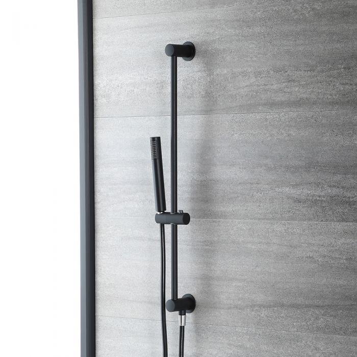 Barra de Ducha Deslizante Moderna Completa con Kit de Telefonillo y Codo de Salida de Color Negro -  Nox
