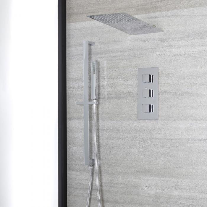 Conjunto de Ducha con Mezclador de Ducha Termostático Cuadrado Triple de 2 Salidas Cromado con Alcachofa de Ducha Fija y Barra de Ducha Deslizante - Kubix